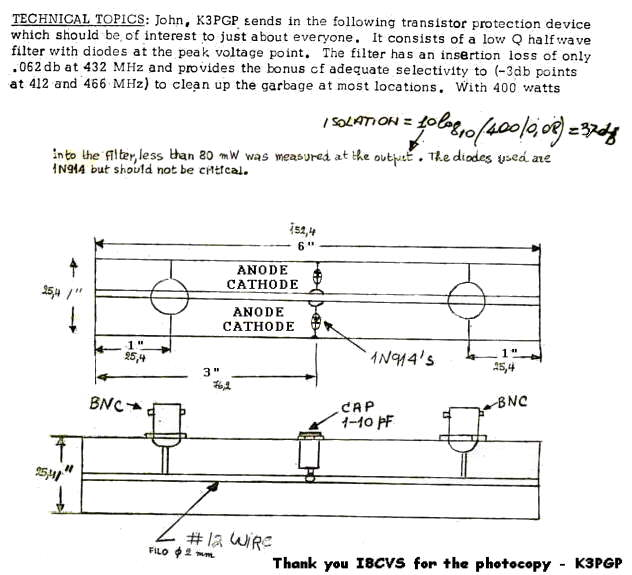 K3PGP - Experimenters Corner - A 432 Mhz receiver filter